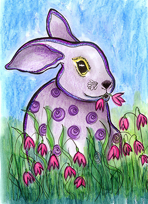 rabbit flowers drawing shelly dax