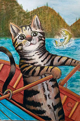 cat fish rowboat drawing shelly dax