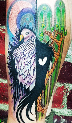 watercolor bird tattoo shelly dax