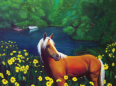 horse field painting shelly dax