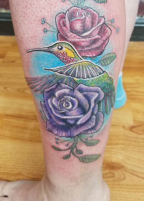 hummingbird flower tattoo shelly dax