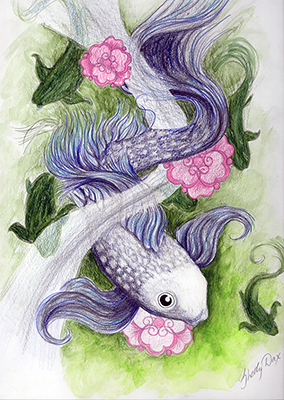 fish flower drawing shelly dax