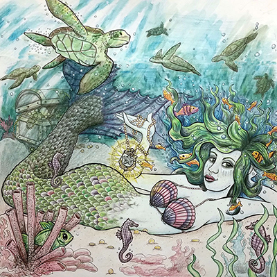 mermaid turtle drawing shelly dax