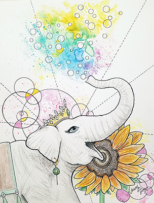 elephant sunflower drawing shelly dax