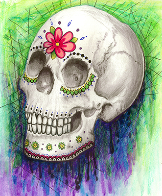 skull flower drawing shelly dax