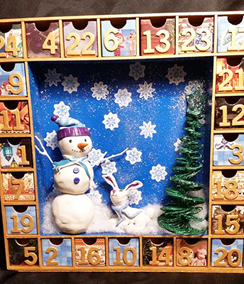 snowman advent calendar shelly dax